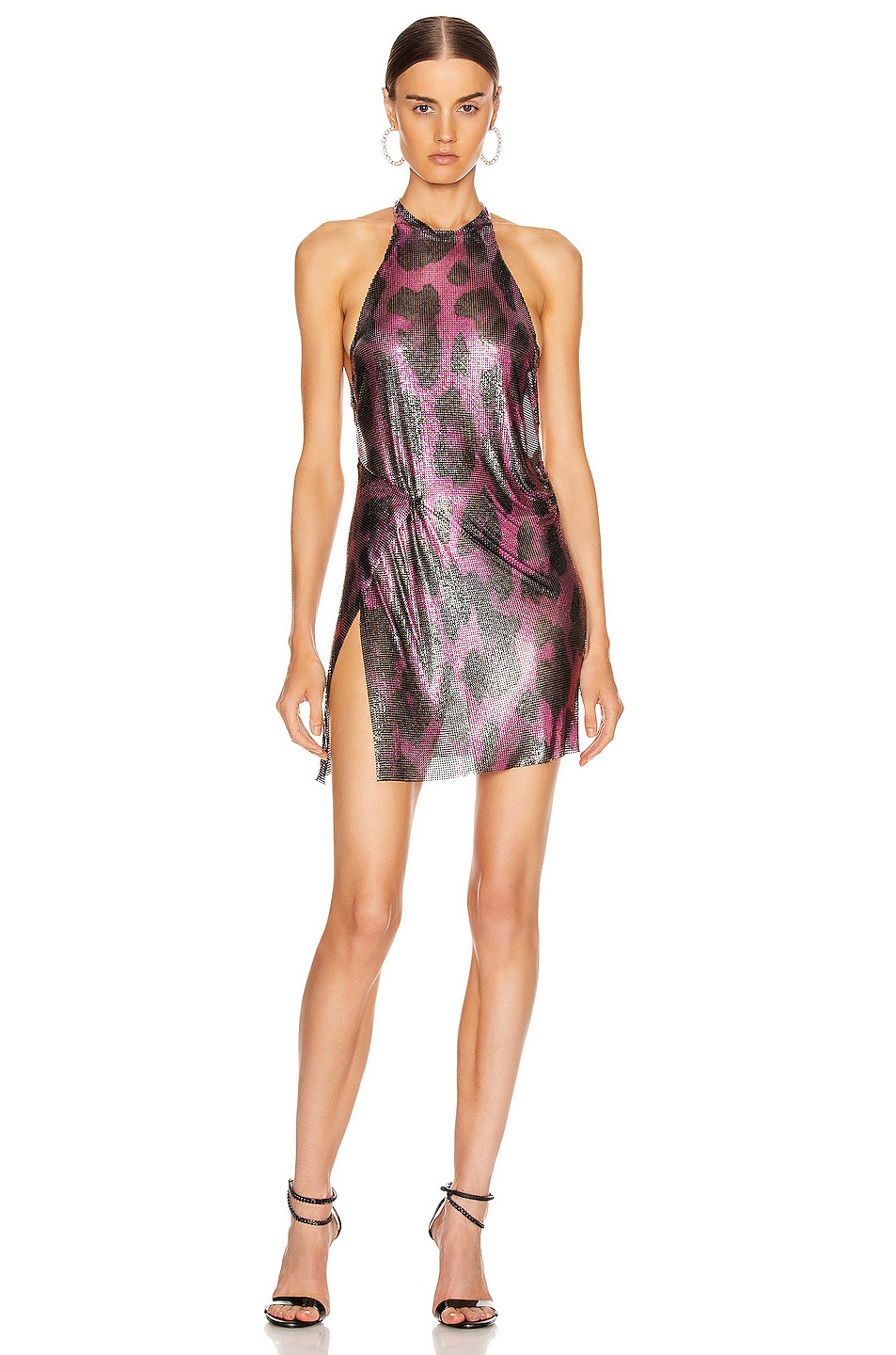 Image 1 of FANNIE SCHIAVONI for FWRD Alicia Halter Mini Dress in Pink Leopard