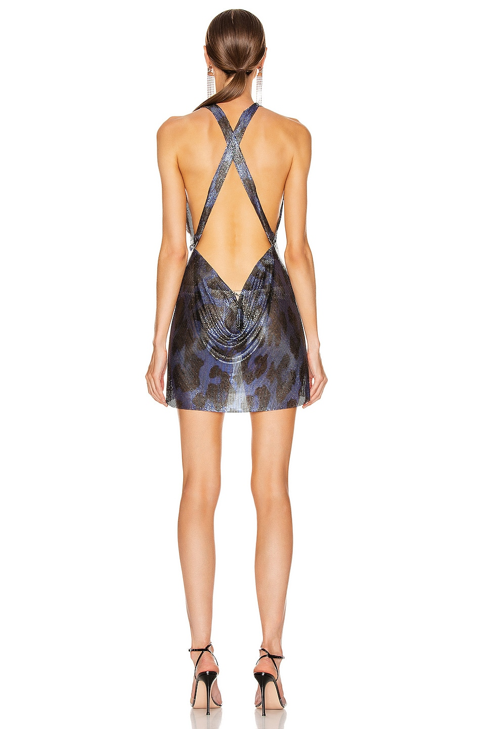 Image 3 of FANNIE SCHIAVONI for FWRD Hailey Metal Mesh Dress in Blue Leopard