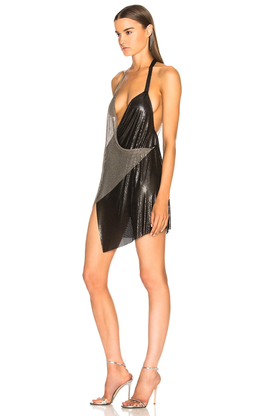 Image 3 of FANNIE SCHIAVONI Metal Mesh Dress in Silver & Black