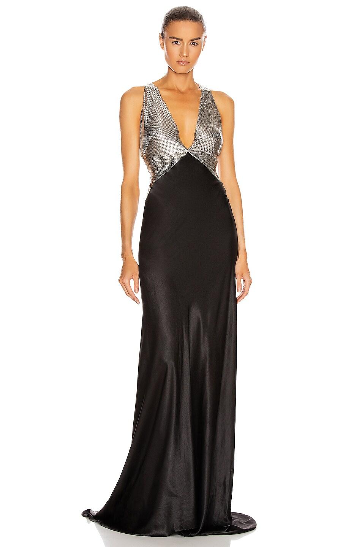 Image 1 of FANNIE SCHIAVONI Eliza Dress in Silver & Black