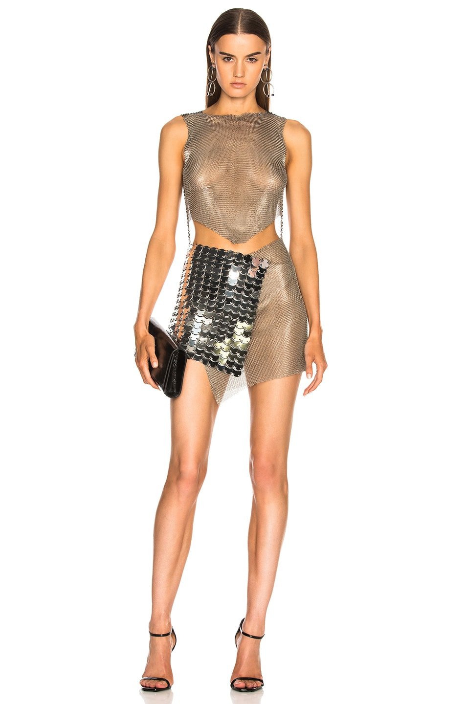 FANNIE SCHIAVONI Fannie Schiavoni Mesh And Scale Dress In Metallic Silver