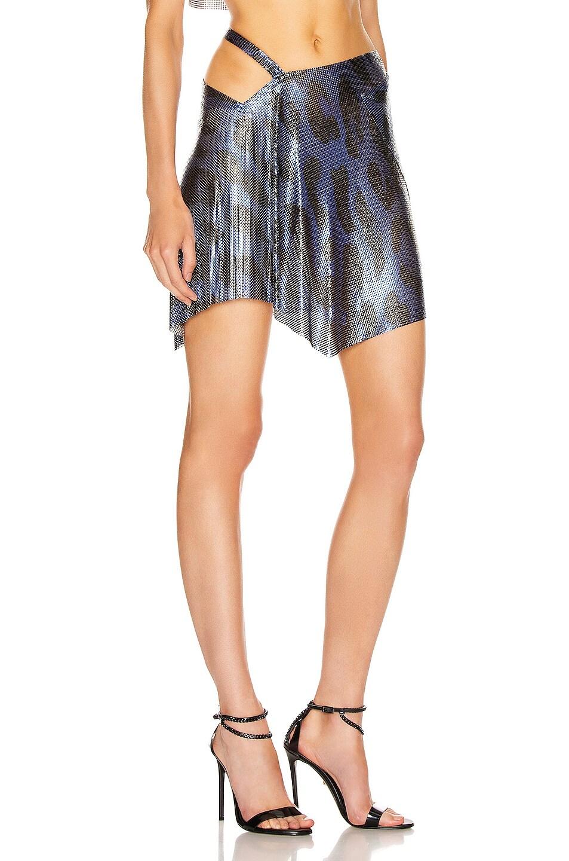 Image 2 of FANNIE SCHIAVONI for FWRD Iza Mesh Skirt in Blue Leopard
