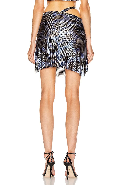 Image 4 of FANNIE SCHIAVONI for FWRD Iza Mesh Skirt in Blue Leopard