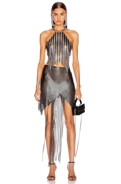 Image 4 of FANNIE SCHIAVONI Jaime Top in Silver & Black