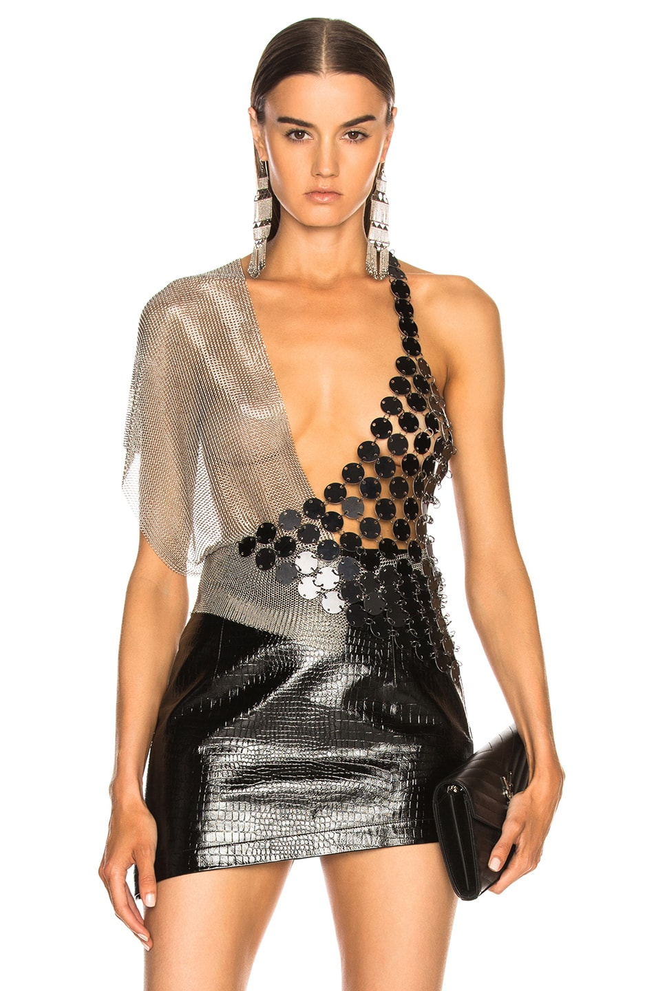 FANNIE SCHIAVONI SCALE AND MESH TOP IN METALLIC SILVER
