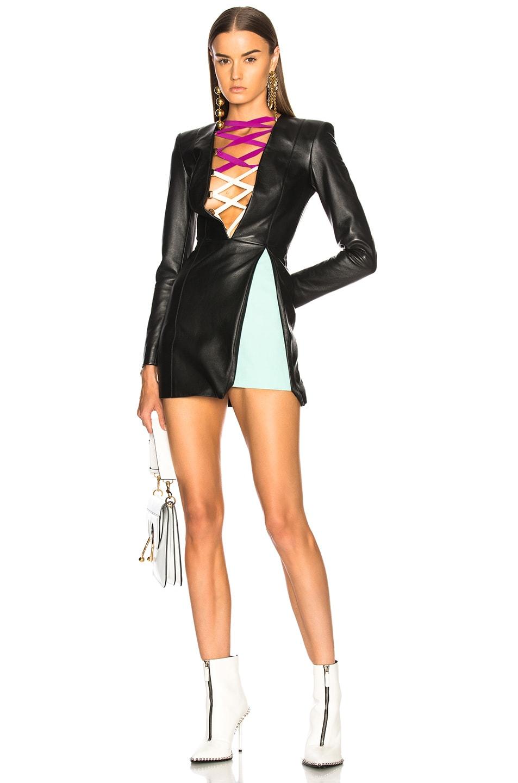 ec8d23e0c4 Image 1 of Fausto Puglisi Leather Lace Up Mini Dress in Black