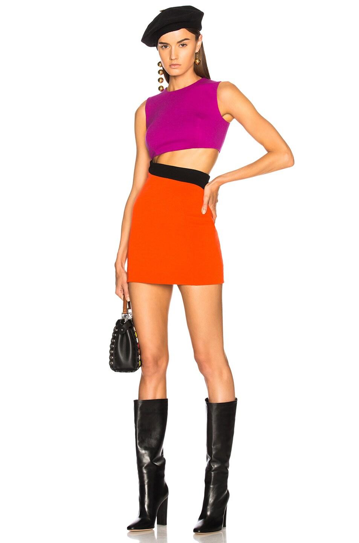 Fausto Puglisi Color Block Cut Out Mini Dress in Purple,Orange