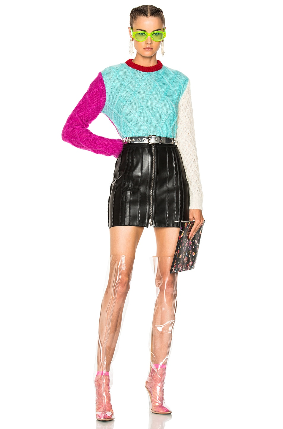 FAUSTO PUGLISI Color Block Crop Knit Sweater In Blue, Pink ...