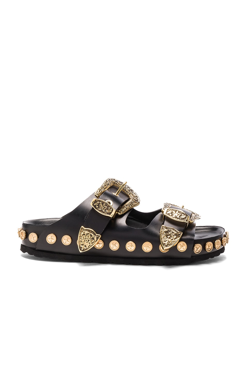 Image 1 of Fausto Puglisi Studded Leather Sandals in Black & Gold