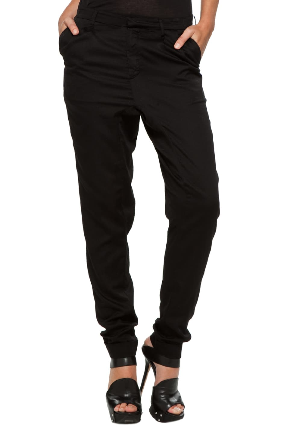 Image 1 of Fifth Avenue Shoe Repair Low Crotch Chino in Black