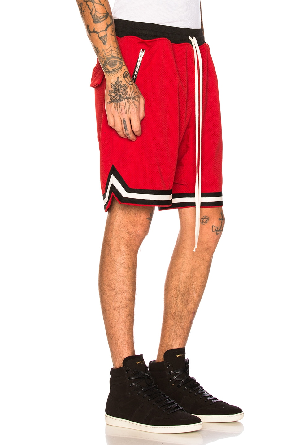 Image 2 of Fear of God Mesh Drop Crotch Shorts in Red