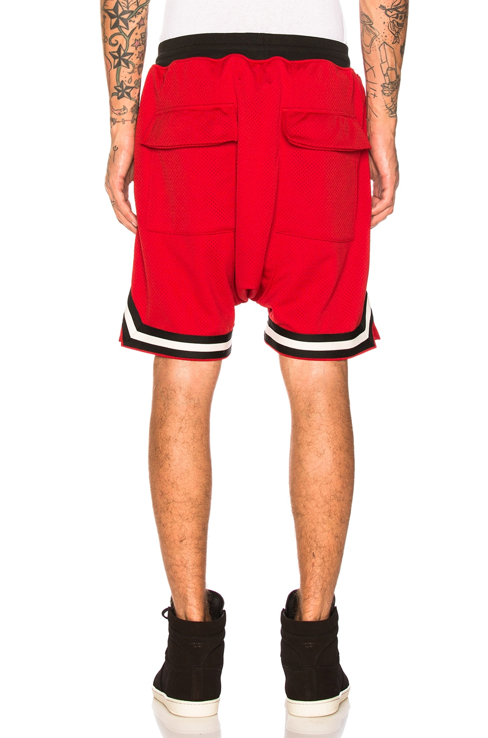 Image 3 of Fear of God Mesh Drop Crotch Shorts in Red