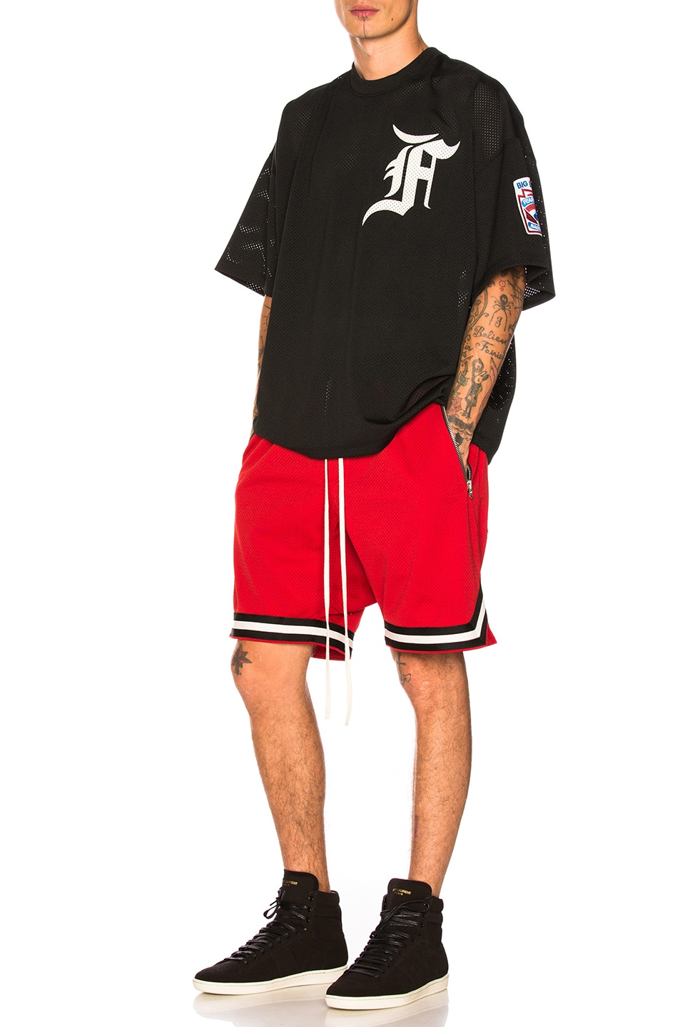 Image 4 of Fear of God Mesh Drop Crotch Shorts in Red