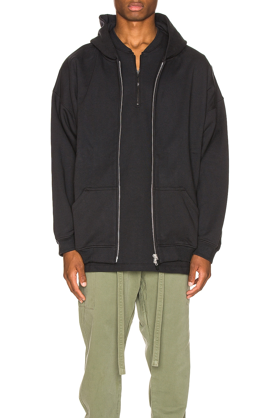 Image 1 of Fear of God Everyday Full Zip Hoodie in Vintage Black