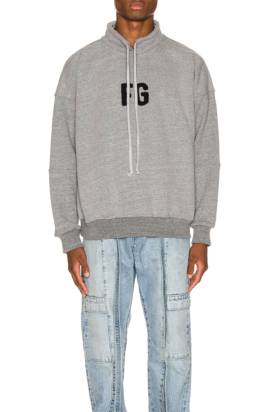 Image 1 of Fear of God Mock Neck FG Pullover in Heather Grey & Black