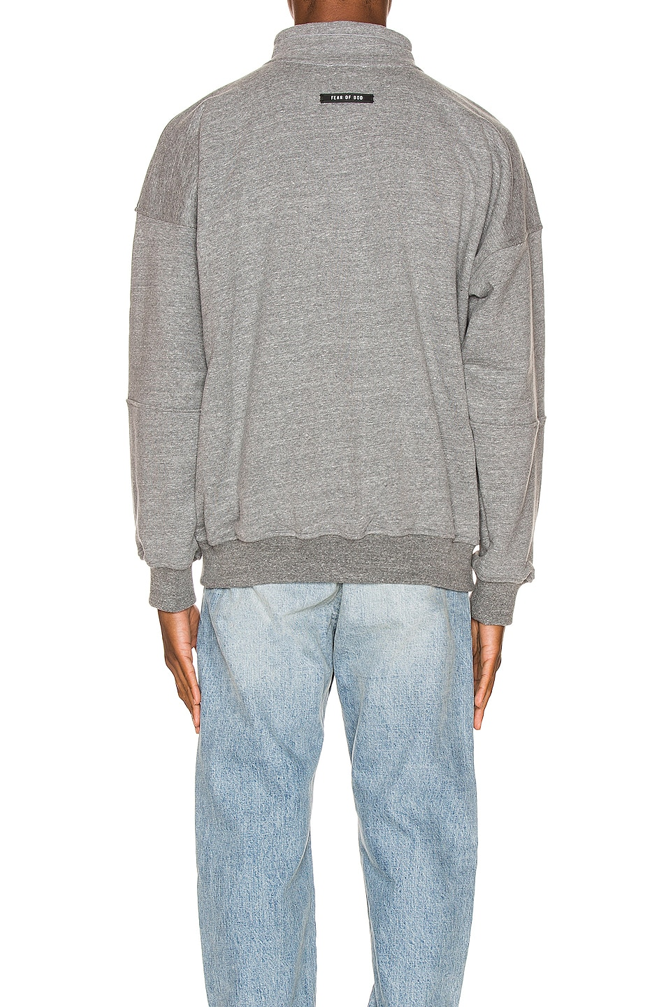 Image 3 of Fear of God Mock Neck FG Pullover in Heather Grey & Black