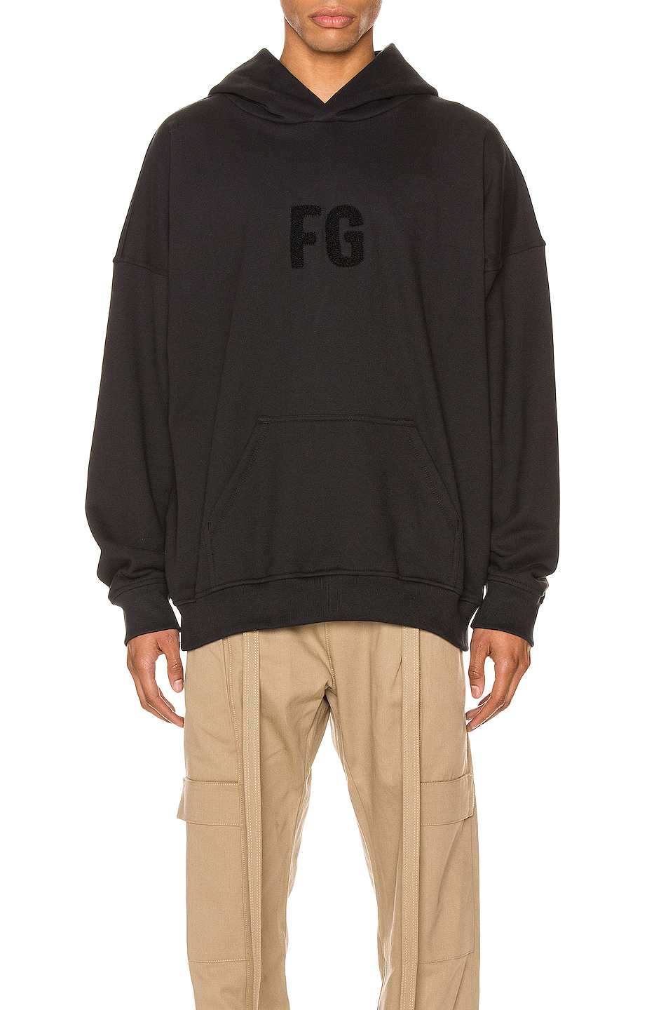 Image 1 of Fear of God Everyday FG Hoodie in Vintage Black & Black