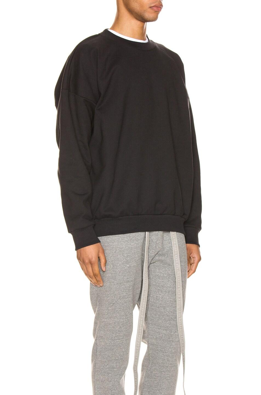 Image 2 of Fear of God Crewneck Back Logo Sweatshirt in Black & Black