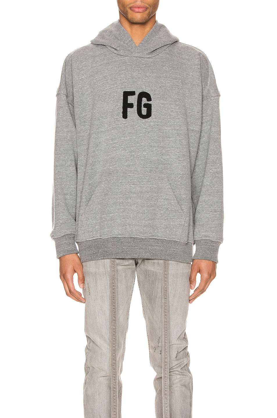 Image 1 of Fear of God Everyday FG Hoodie in Heather Grey & Black
