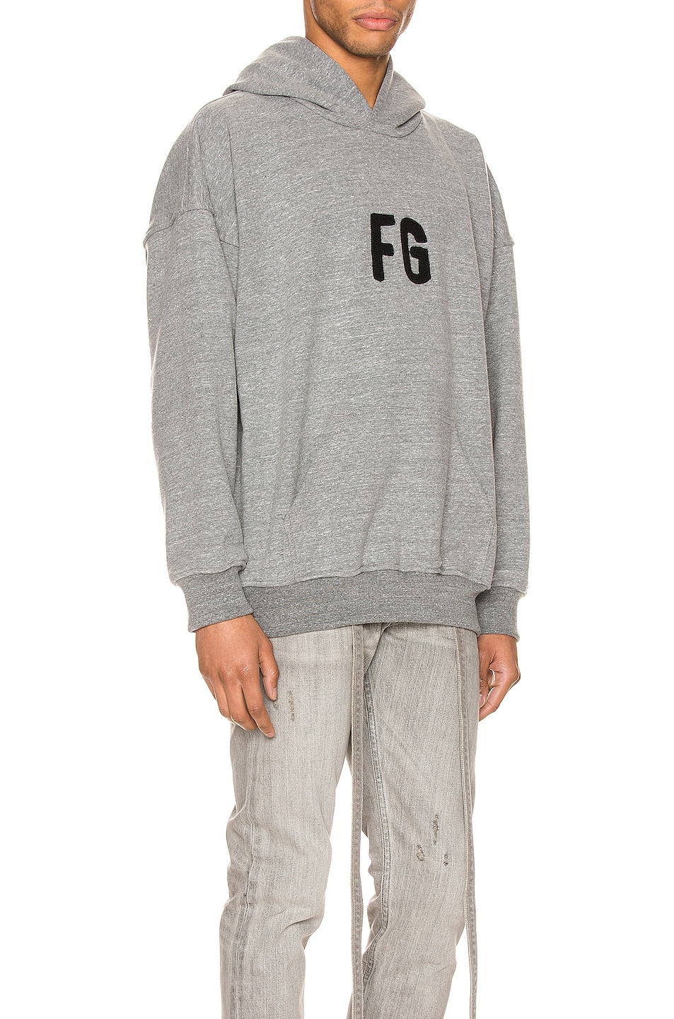 Image 2 of Fear of God Everyday FG Hoodie in Heather Grey & Black