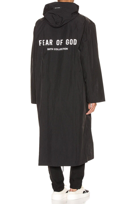 Image 1 of Fear of God Logo Nylon Hooded Rain Jacket in Black