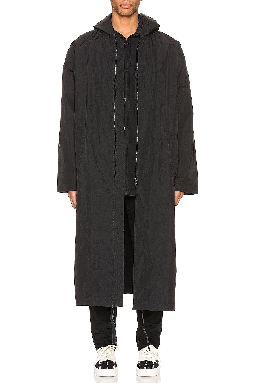 Image 2 of Fear of God Logo Nylon Hooded Rain Jacket in Black