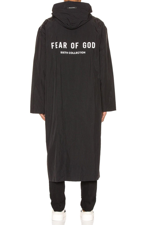 Image 5 of Fear of God Logo Nylon Hooded Rain Jacket in Black