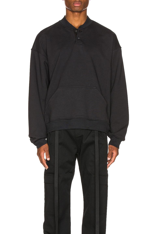 Image 1 of Fear of God Everyday Henley Sweatshirt in Vintage Black