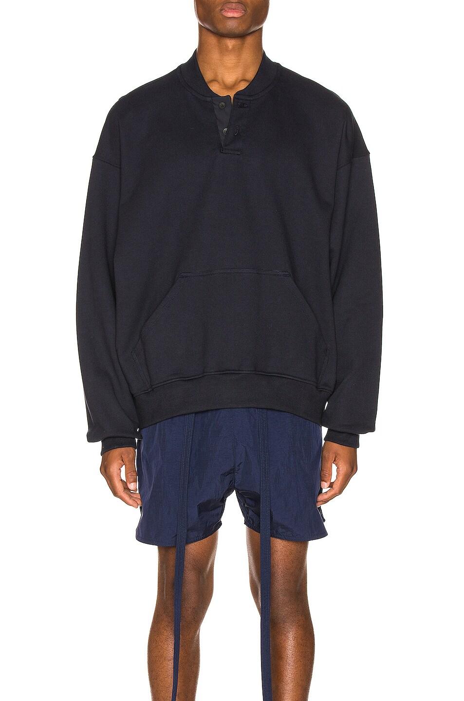 Image 1 of Fear of God Everyday Henley Sweatshirt in Navy