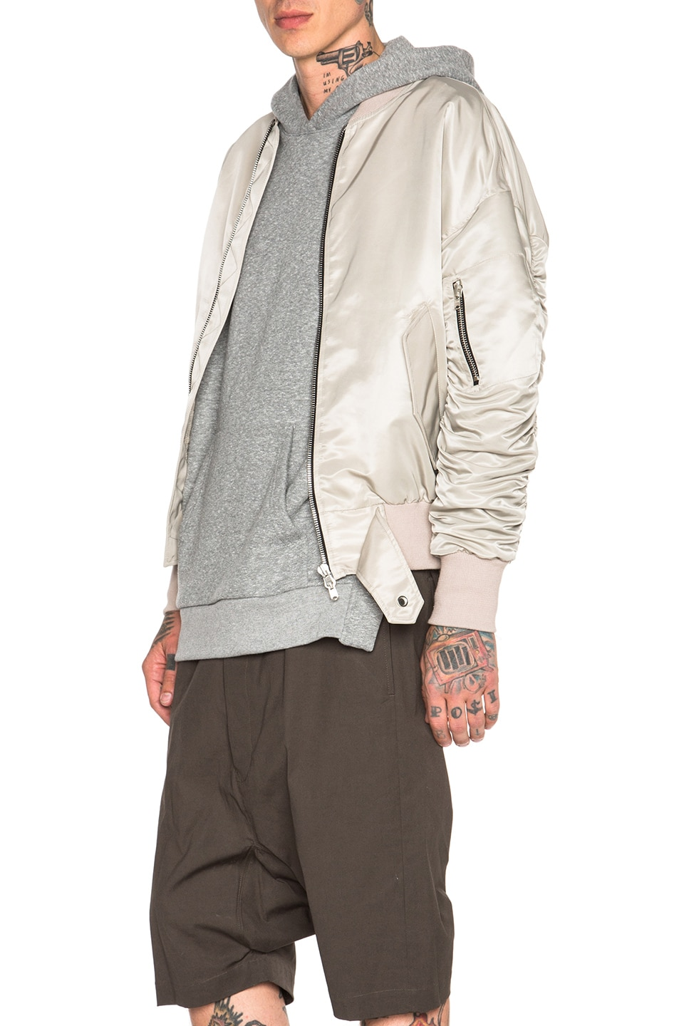 Image 3 of Fear of God Nylon Bomber Jacket in Silver