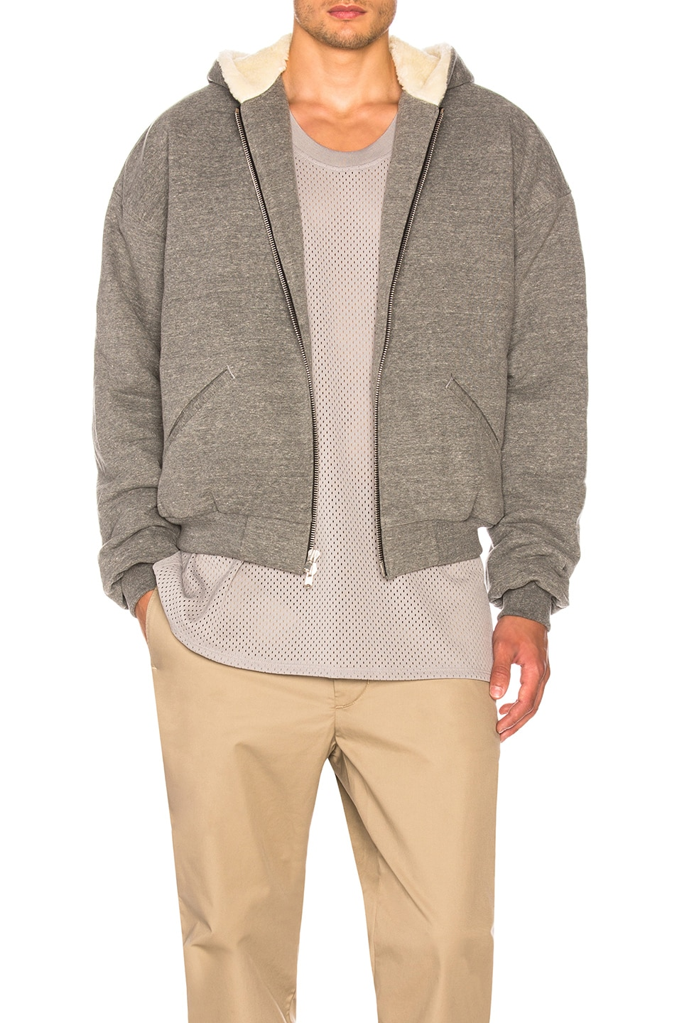 FEAR OF GOD Faux Shearling-Lined Cotton-Blend Jersey Zip-Up Hoodie,