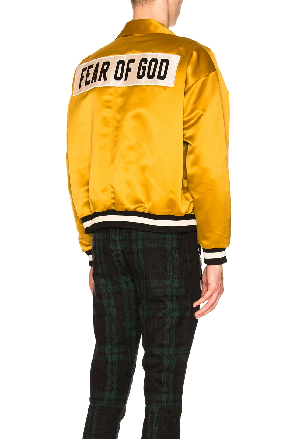 Image 1 of Fear of God Satin Coaches Jacket in Gold