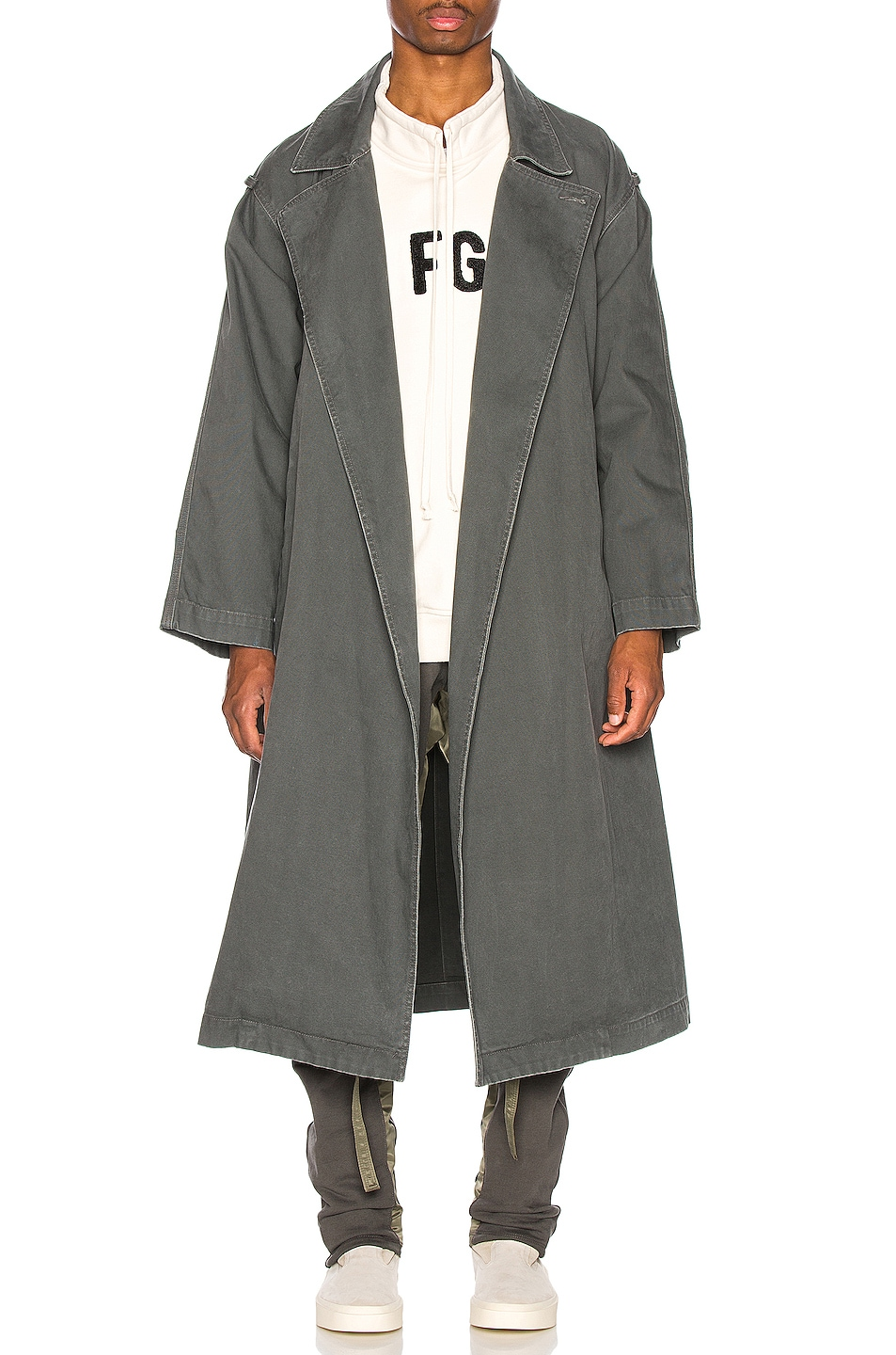 Image 1 of Fear of God Canvas Trenchcoat in Seaweed