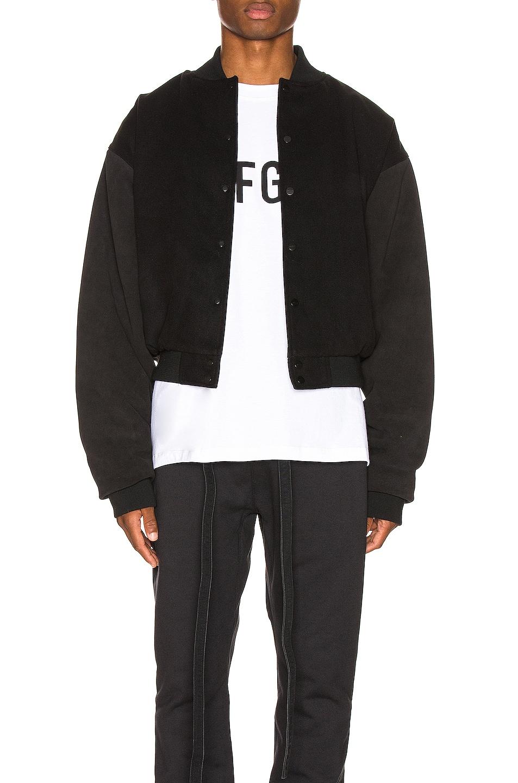 Image 1 of Fear of God 6th Collection Varsity Jacket in Vintage Black & Black