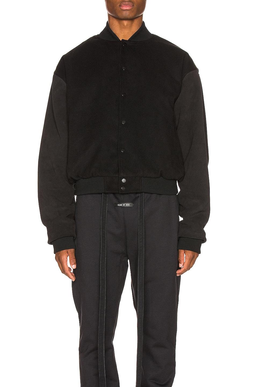 Image 2 of Fear of God 6th Collection Varsity Jacket in Vintage Black & Black