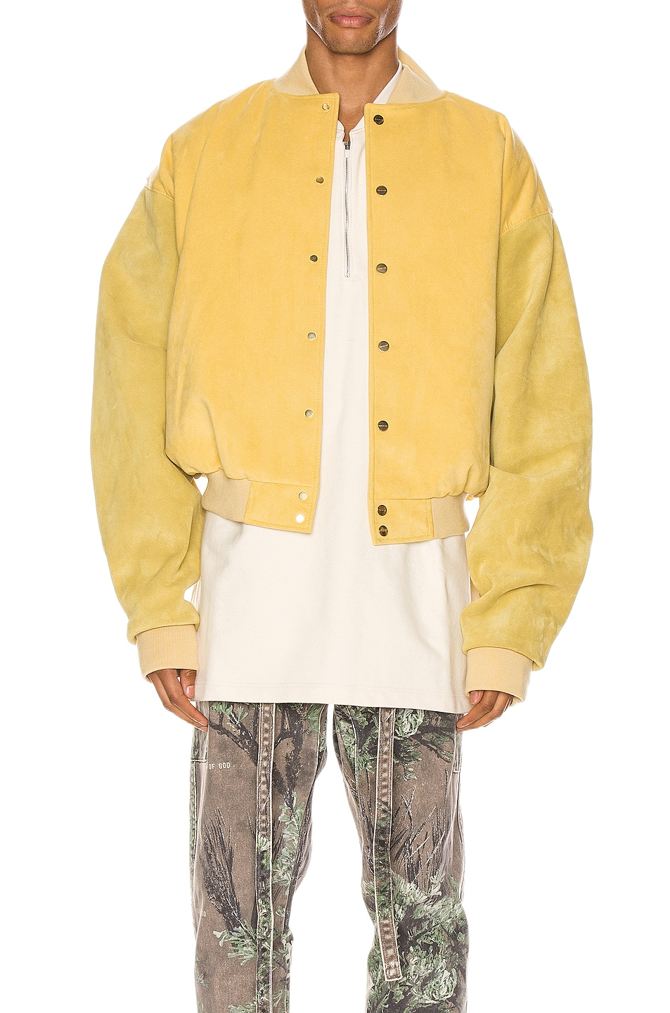 Image 2 of Fear of God 6th Collection Varsity Jacket in Garden Glove Yellow