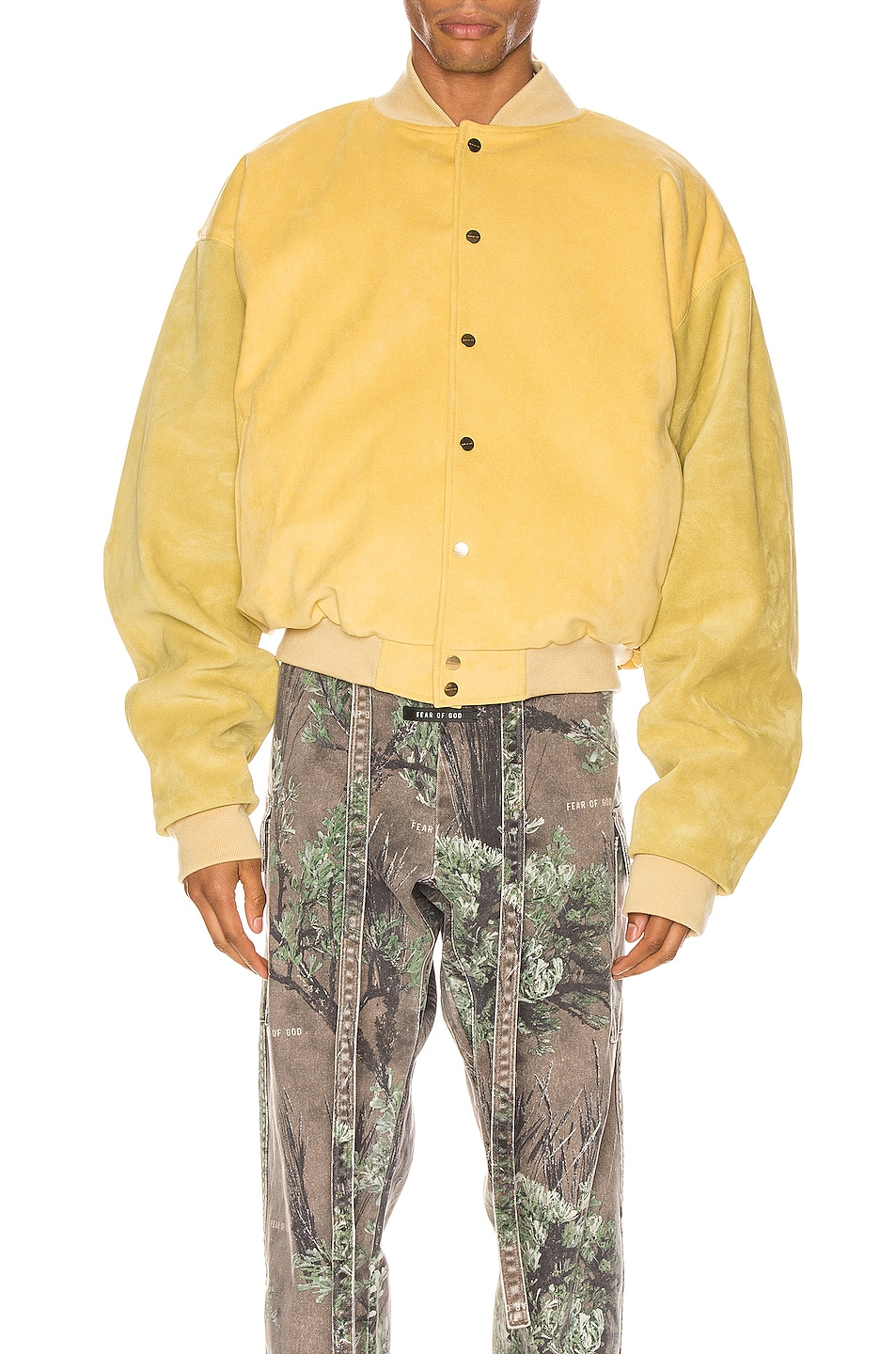 Image 3 of Fear of God 6th Collection Varsity Jacket in Garden Glove Yellow