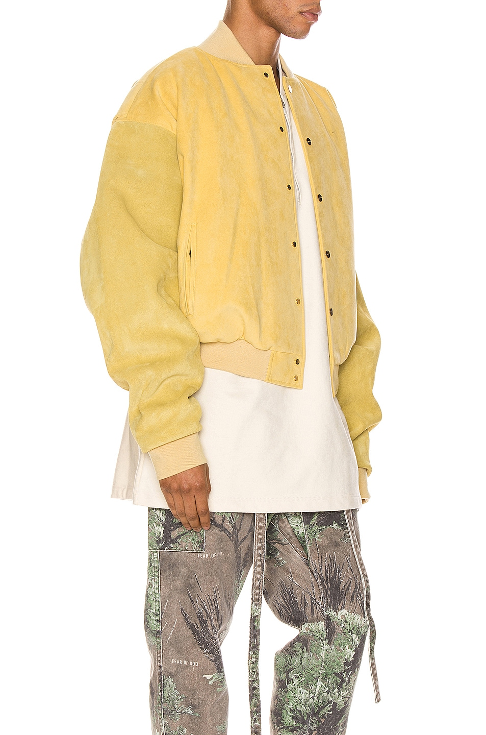 Image 4 of Fear of God 6th Collection Varsity Jacket in Garden Glove Yellow
