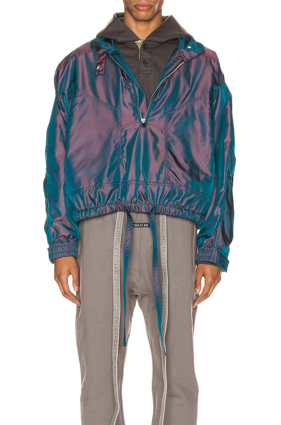 Image 1 of Fear of God Pullover Track Jacket in Blue Iridescent