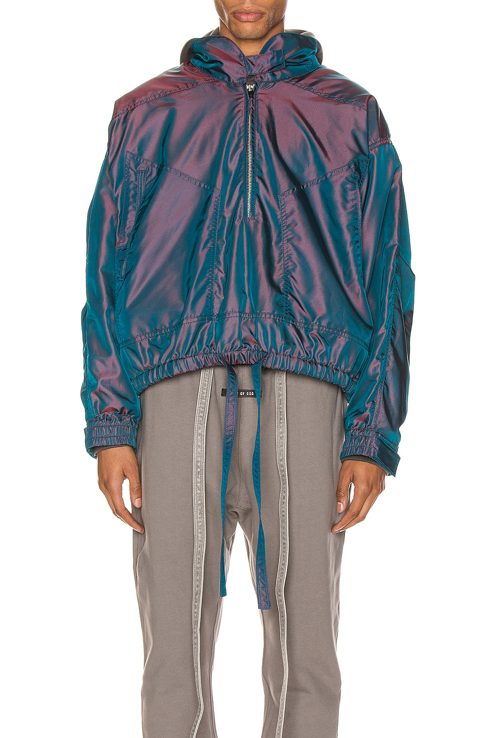 Image 2 of Fear of God Pullover Track Jacket in Blue Iridescent
