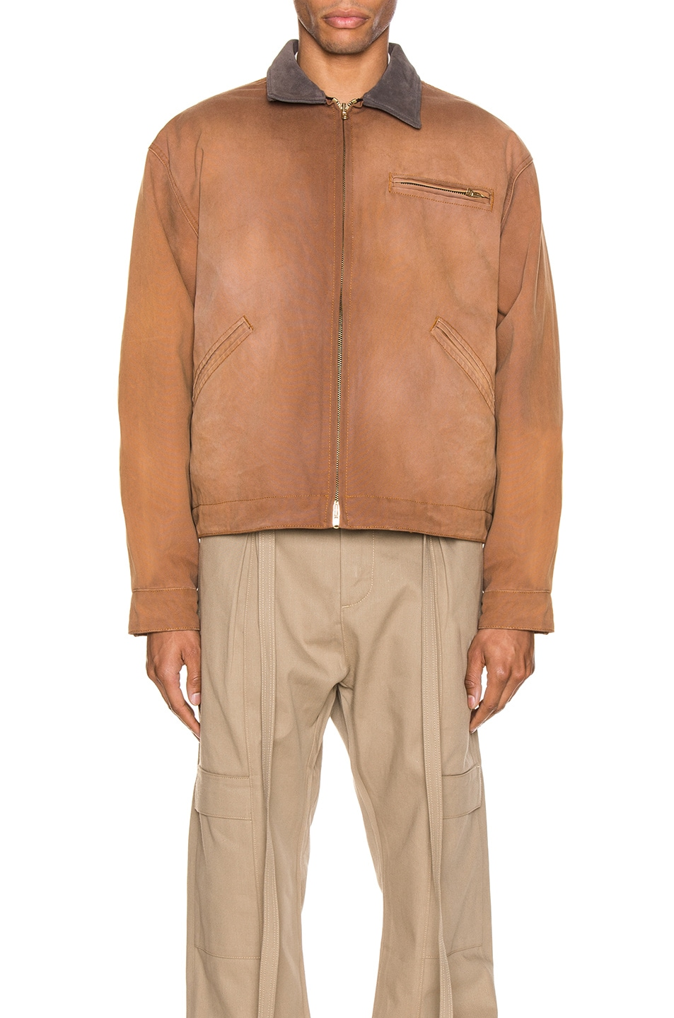 Image 2 of Fear of God Canvas Work Jacket in Brick & Brown