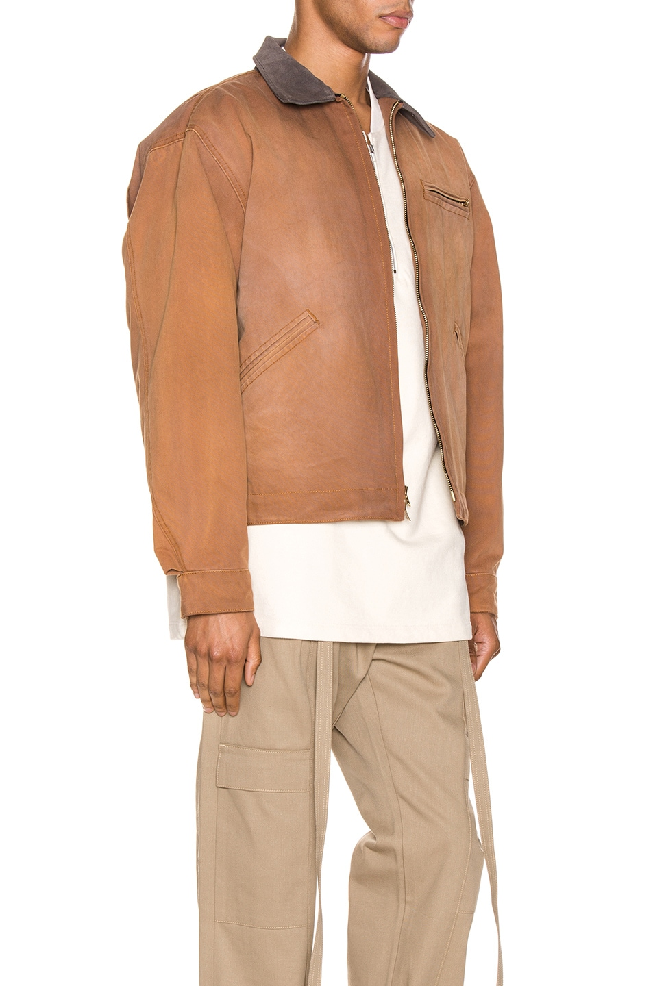 Image 3 of Fear of God Canvas Work Jacket in Brick & Brown
