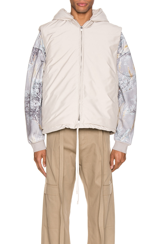 Image 2 of Fear of God Hooded Nylon Vest in Bone