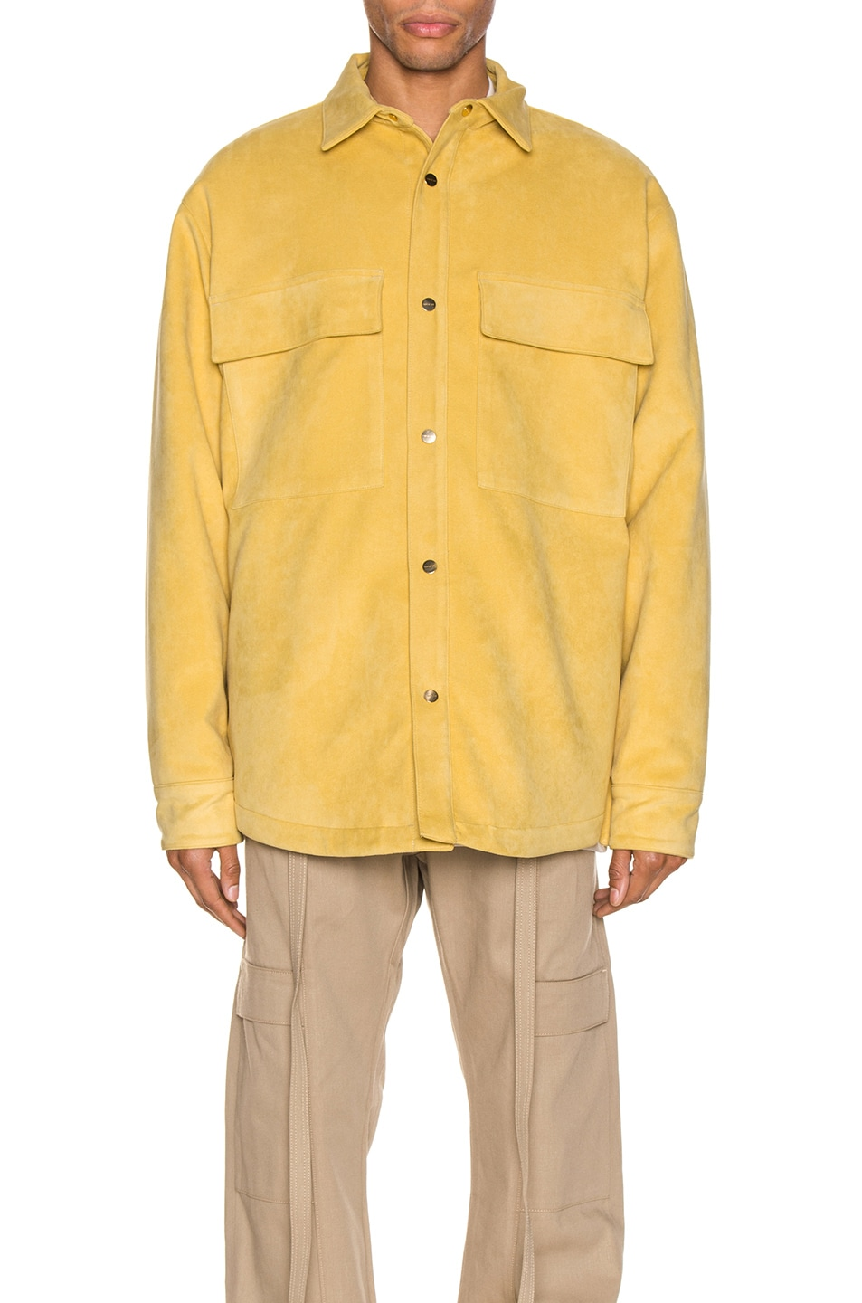 Image 2 of Fear of God Suede Shirt Jacket in Garden Glove Yellow