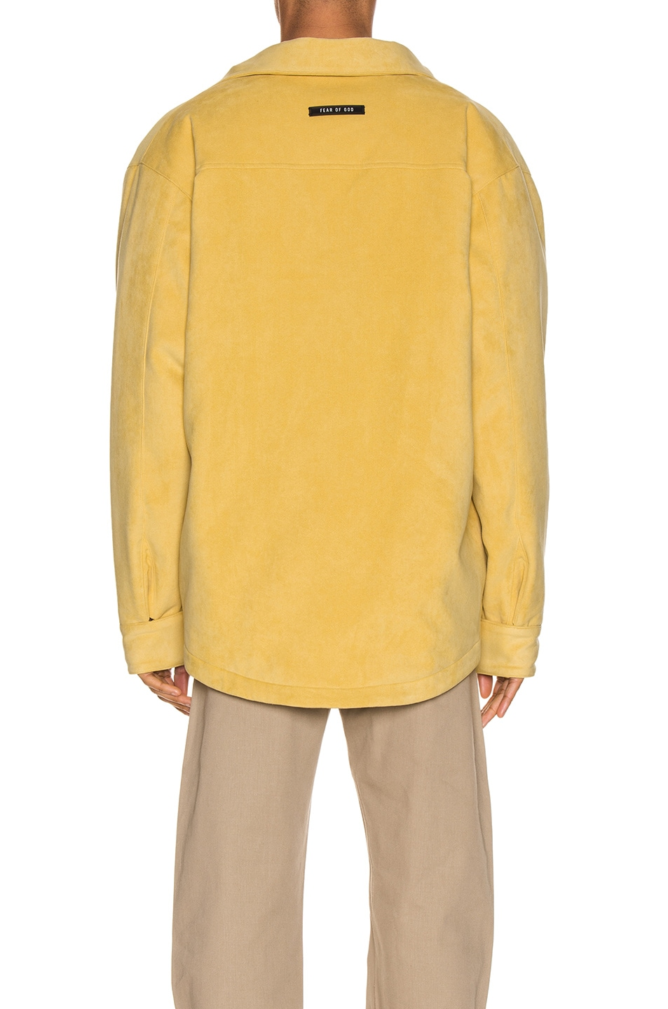 Image 4 of Fear of God Suede Shirt Jacket in Garden Glove Yellow