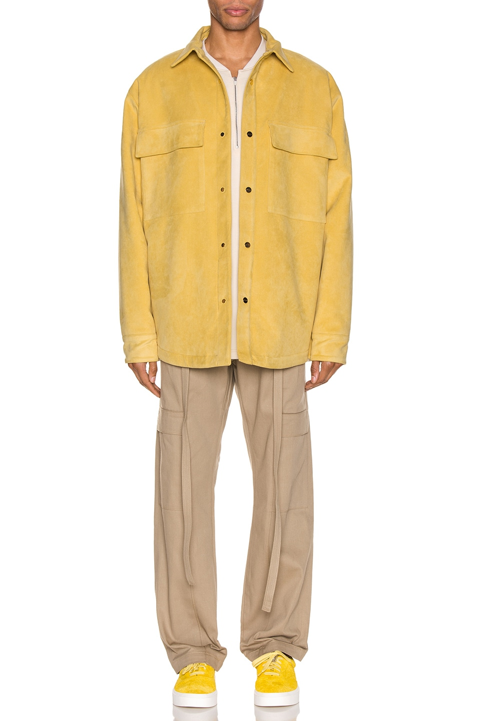 Image 5 of Fear of God Suede Shirt Jacket in Garden Glove Yellow
