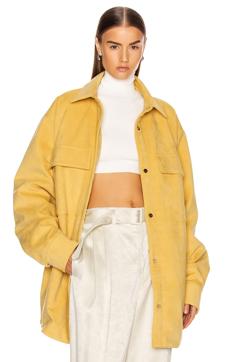 Image 1 of Fear of God Suede Shirt Jacket in Garden Glove Yellow