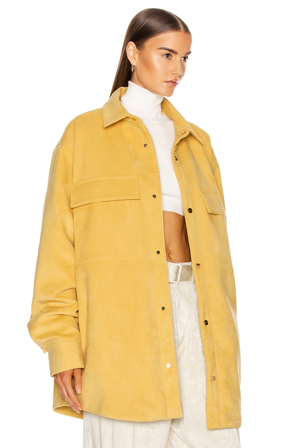 Image 3 of Fear of God Suede Shirt Jacket in Garden Glove Yellow