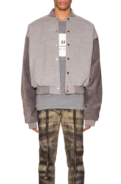 Image 1 of Fear of God 6th Collection Varsity Jacket in Melange Grey & Brown
