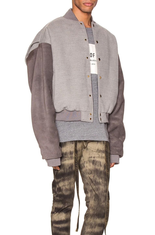 Image 3 of Fear of God 6th Collection Varsity Jacket in Melange Grey & Brown